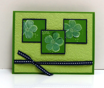 Gumball Green, Night of Navy & Pear Pizzazz make up this bright card
